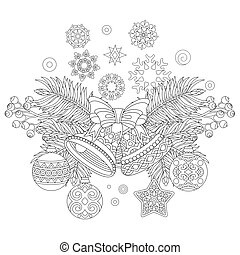 Christmas decorations - Coloring page with Christmas...