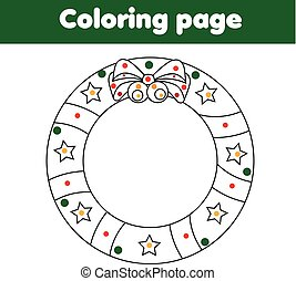 Coloring page with Christmas wreath. Educational game, drawing kids activity