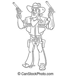 coloring page with cowboy, retro american sheriff