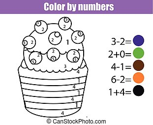 Coloring page with cupcake. Color by numbers educational children game, drawing kids activity. Math game
