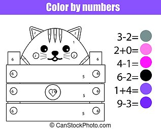 Coloring page with cute cat character. Color by numbers educational children game, drawing kids activity. Math game