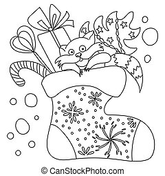 Coloring page with cute christmas raccoon in festive sock, outline illustration with xmas attributes
