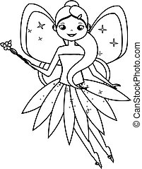 Coloring page with cute flying fairy character. Drawing kids...