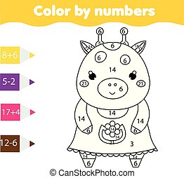 Coloring page with cute giraffe Color by numbers printable activity, mathematics game for toddlers