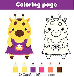 Coloring page with cute giraffe. Drawing kids activity. Printable toddlers fun