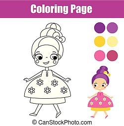 Coloring page with cute princess. Educational game for children