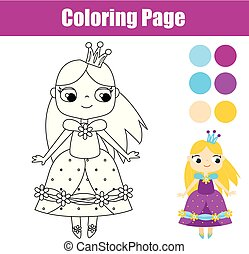 Coloring page with cute prnicess. Educational game
