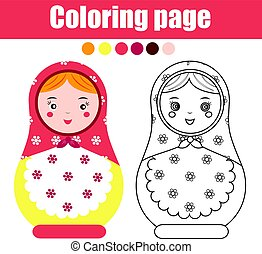 Coloring page with cute russian nesting doll. Children...