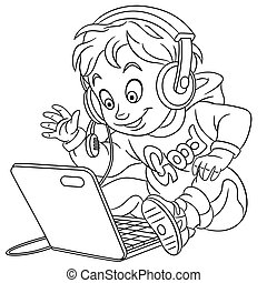Coloring page. Cute cartoon young gamer, cyber e-sport professional in work.
