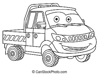 coloring page with delivery truck cargo van