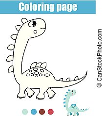Coloring page with dinosaur. Drawing kids activity. Printable toddlers fun