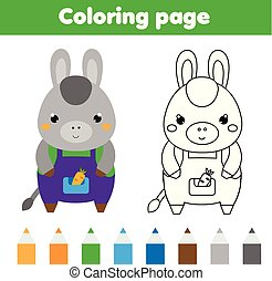 Coloring page with donkey. Drawing kids activity. Printable toddlers fun