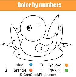 Coloring page with duck bird. Color by numbers educational children game, drawing kids activity