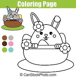 Coloring page with Easter bunny character. Printable worksheet. educational children game, drawing kids activity. rabbit in busket with eggs