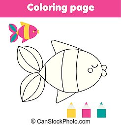 Coloring page with fish. Drawing kids activity for toddlers