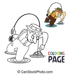 coloring page with fishing man cartoon