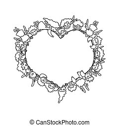 Coloring page with flying angels and cupids around heart. Card for Valentines Day line art.