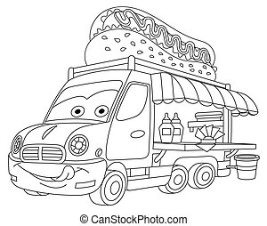 coloring page with food truck vehicle