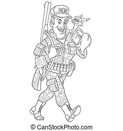 coloring page with forester