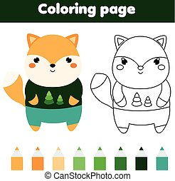Coloring page with fox. Drawing kids activity. Printable toddlers fun