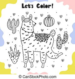 Coloring page with funny llama and cactuses