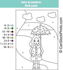 Coloring page with girl. Color by numbers math game