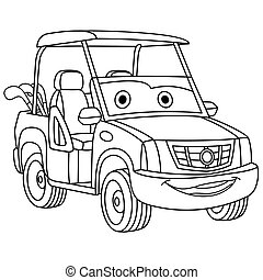 coloring page with golf car