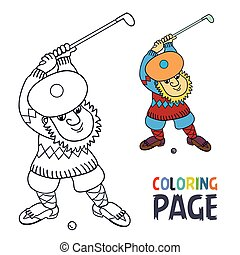 coloring page with Golf player has a stick in the ball