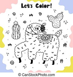 Coloring page with happy llama and cactuses