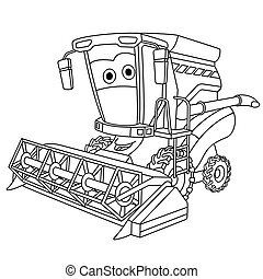coloring page with harvester combine - Coloring page. ...