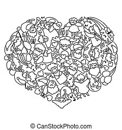 Coloring page with heart from black white angels and cupids. Card for Valentines Day line art.