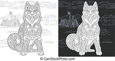 Coloring page with husky dog