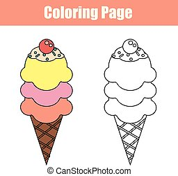 Coloring page with ice cream