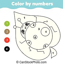 Coloring page with ladybug. Color by numbers printable activity