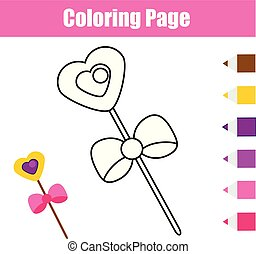 Coloring page with magic stick. Educational game