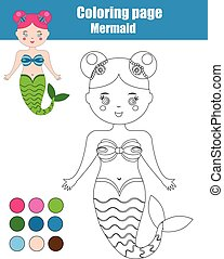 Coloring page with mermaid. Children educational game, kids activity sheet