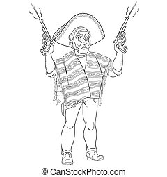 coloring page with mexican bandit or gangster