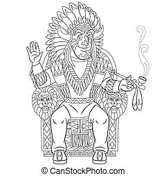 coloring page with native american indian chief