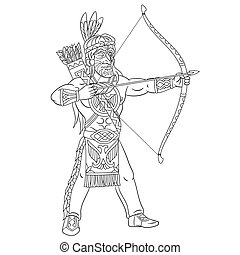 coloring page with native american indian man