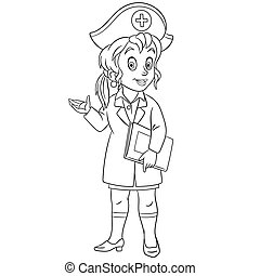 coloring page with nurse, female doctor - Coloring page. ...