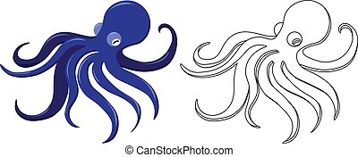 coloring page with octopus - color and line art