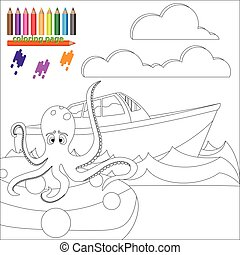 Coloring page with octopus in the sea
