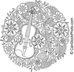Coloring page with ornamental violin in circle shape on...