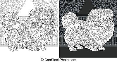 Coloring page with pekingese dog