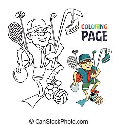 coloring page with people bring sport tool cartoon