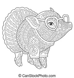 coloring page with pig