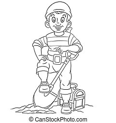 coloring page with pirate and treasure chest