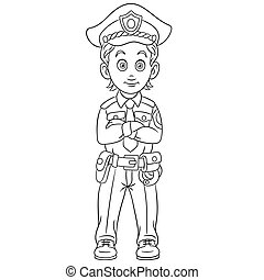 coloring page with policeman