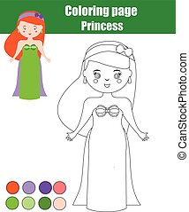Coloring page with princess. Children educational game, drawing activity