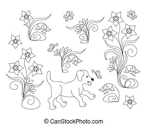 coloring page with puppy among flowers